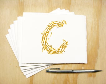 Letter C Stationery - Personalized Gift - Set of 6 Block Printed Cards