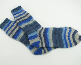 Washable Wool Socks - Adult Size 9-10 US/40-42 EU, No Sag, Self-Striping Shades of Blue & Grey, Very Warm, Soft, Great Gift Under 35.00