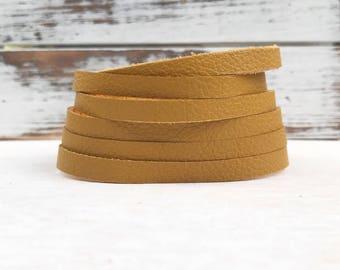 Leather Bangle Bracelet - Mustard