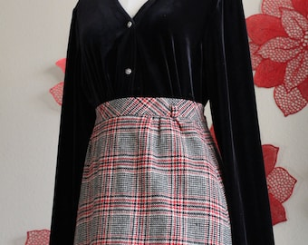 70s Holiday Wool Maxi Skirt; Red, Black, and White Plaid