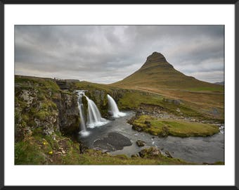 Kirkjufell Mountain and Waterfall - Land of Fire and Ice - Iceland - Snæfellsnes - Travel - Color Photo Print - Fine Art Photography (IC01)