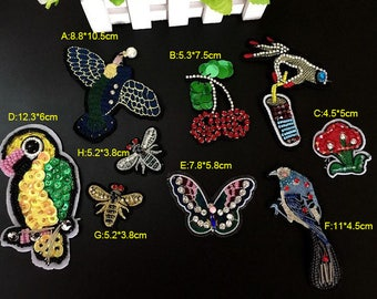 4-15pcs 3-12cm wide bird bees Rhinestones beads sequins bag shoes dress appliques patches F2E37L180214C free ship