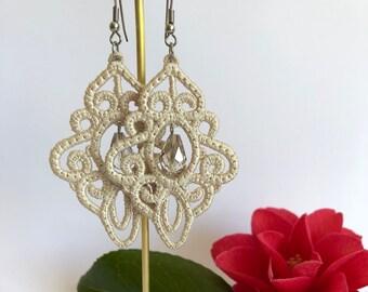 Beige ~ Needle Lace ~ Dangle Earrings