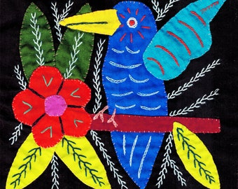Vintage San Blas Kuna Indian Mola of Winged BlueBird Small - Vintage Kuna Textile Design of Winged BlueBird with Flowers