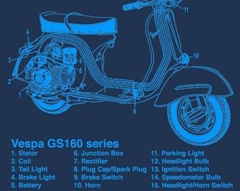 Vespa Scooter Electrical Diagram Schematic Graphic Screen Print Navy T-Shirt in S, M, L, XL, XXL