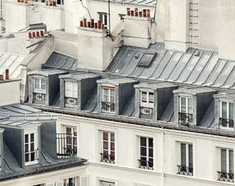 "Paris Rooftops, Paris Photography Print, Large Wall Art Print, Paris Decor, Architecture, Fine Art Photography ""Rooftop Soliloquy"""