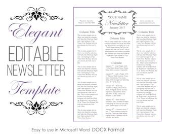 Newsletter Template for Microsoft Word - Elegant - EDITABLE - Instant Download - Printable
