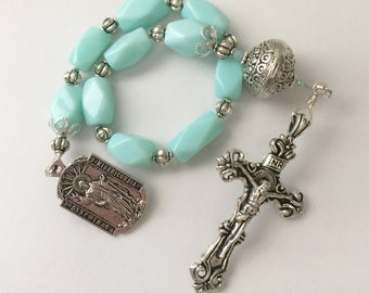 Amazonite and Pewter One Decade Rosary with Pewter Crucifix and Sacred Heart of Jesus and Blessed Virgin Mary Medal