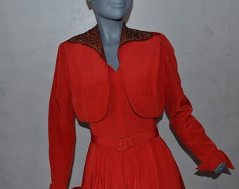 1950s Red Dress by Carlye. Sweetheart neckline, circle skirt, bolero jacket with soutache and rhinestone trim. Bust 36 VFG