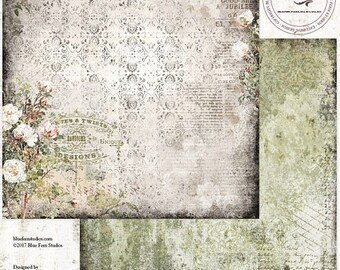 ON SALE Blue Fern Studios Remnants, Westfield 12x12 Scrapbook Paper, 2 pcs