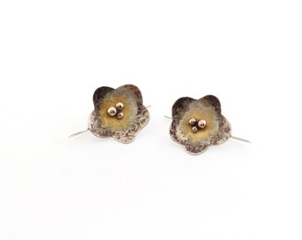 hammered silver touch of gold flower earrings