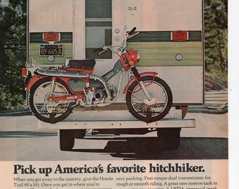 Honda Trail 90 Motorcycle Vintage Print Ad 1972