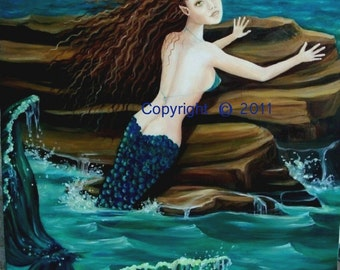 "Mermaid Painting, Oil on Canvas, ""LAMORNA"", 16  x 20  Original, Unframed, RedRobinArt, Grigsby Gallery and Gifts"