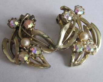 Vintage 1950s Marked AB Rhinestone & Faux Pearl Botanical Earrings