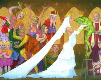 "Alternative Fairytale art print - ""The Royal Wedding"" - Fandasy art, the Frog Prince and his Princess get married,  by Nancy Farmer."