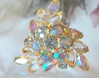 Juliana brooch, Clear and AB rhinestones, 1950s, verified Delizza and Elster, MadMen jewelry