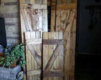 """Z Bar Rustic Wooden Shutters - 36"""" Set of 2 - Interior Decor Shutters - Exterior Shutters - Farmhouse Shutters - Country Shutters"""
