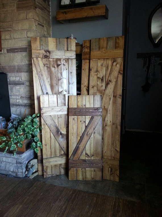 "Z Bar Rustic Wooden Shutters - 36"" Set of 2 - Interior Decor Shutters - Exterior Shutters - Farmhouse Shutters - Country Shutters"