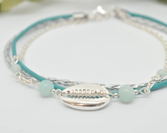 Leather turquoise and Silver 925 anklet