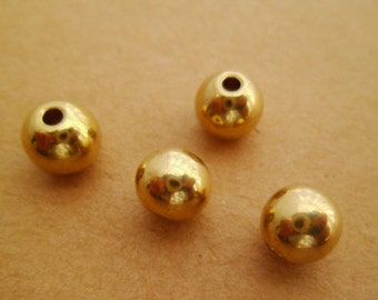 40pcs 8mm Yellow Raw Brass Round Ball Beads Solid for Crafters Jewelry Makers 2mm Hole 0101-0306