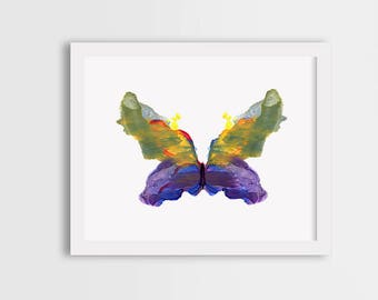 Purple butterfly print, colorful painting, watercolor illustration, girl room decor, gift for her