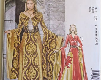 Game of Thrones, Paper Pattern, Dark Faerie Gown, Reenactment, Medieval, Cosplay Princess dress,  Costume Sewing Pattern, Steampunk Cosplay