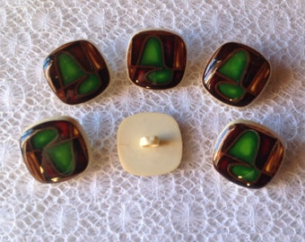 Set of six vintage square buttons typical 70