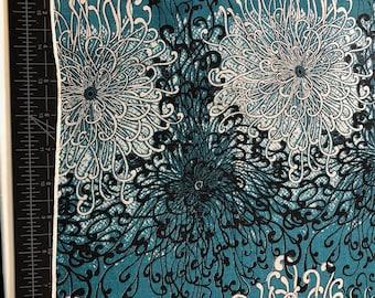 """100% Silk Chiffon Print -  54""""w Teal Green/Black/White"""