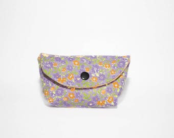 Small pouch or holder wallet in purple and orange floral cotton