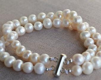 pearl bracelet, 8 inch 2 rows 8-9mm Freshwater Pearl Bracelet, white pearl bracelet, real pearl bracelet, wedding bracelet, off round pearl