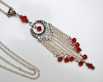 Long chain necklace Chandelier necklace red crystal necklace pendant for women long dangle necklace long chain pendant Chandelier pendant