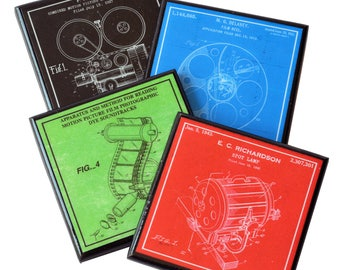movie maker coaster set film maker drink coasters patent art wood coaster gifts for film makers cinema decor director gift movie night