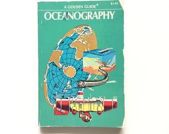 Vintage Golden Guide- Oceanography / Book on the Ocean / Vintage Field Guide / Golden Nature Guide / Science Book / Homeschool Book