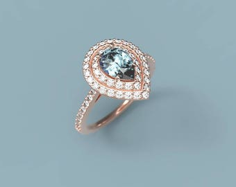 Aquamarine Engagement Ring Rose Gold Aquamarine Ring Aquamarine Halo Ring Aquamarine Diamonds March Birthstone Halo Pear