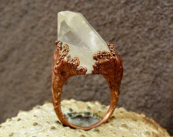 Quartz point ring | Clear quartz ring | Quartz copper ring | Quartz electroformed ring