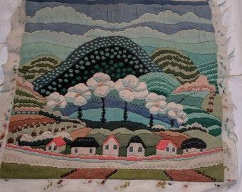 Vintage wool handmade needlepoint embroidery panel