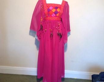 1960's  festival, hippy. Zandra Rhodes style pink dress.