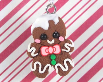 gingerbread man necklace christmas necklace christmas jewelry kawaii polymer clay charms miniature food jewelry polymer clay food necklace