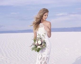 custom crochet wedding dress, boho bride, bohemian bridal gown, custom gown, pure cotton dress white ecru lace long halter neck lace-up