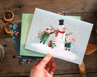 Mixed Illustrated Christmas Cards - Set of 3