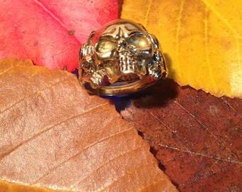 Skull brass ring