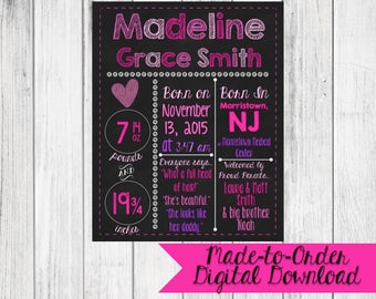 Birth Announcement Girl Chalkboard Made to Order *DIGITAL FILE*