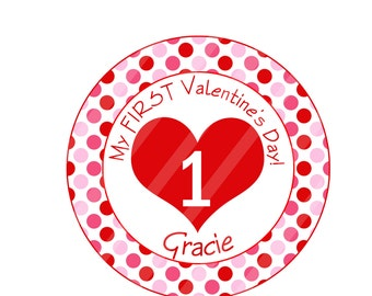 First Valentine's Day Personalized Digital Image for iron-ons, heat transfers, T-Shirts, Onesies, Bibs, Towels, Aprons, DIY YOU PRINT