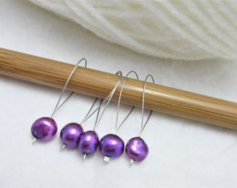 Handmade Stitch Markers, Purple Freshwater Pearl, Pack of 5, Yarn, Wool, Knitting Project, Knit Markers, Fits Most Needles, Notions