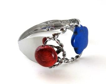 Fork Bracelet With Stone, Blue Stone Cuff, Women, Men, Mirror Finished, BLB 85