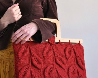 Designer hand knit leafy handbag purse with wooden handles in burnt orange - A Walk Among Trees - eco-fashion LAST ONE AVAILABLE
