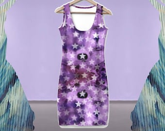 Galaxy Dress - Space Print Dress, Summer Dress, Midi Boatneck Dress, Outer Space Dress, Science Dress, Constellation Dress, Purple Dress