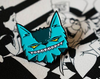 Cheshire Cat Enamel Pin, Alice in Wonderland Pins, Limited Edition, Lapel Badge, Love Kittens, Animal Lover, Smile