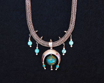 Sterling Silver and Turquoise Pendant Necklace with Handwoven Silver Chain