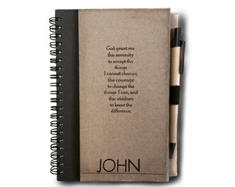 Serenity Prayer Journal Notebook With Pen. With/Without NAME. Addiction. Recovery. Gift. Sobriety. Rehab. AA Birthday. Alcoholics. 12 Step